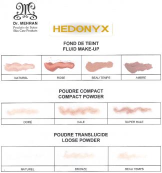 Couleurs fond de teint, poudre compacte et poudre translucide